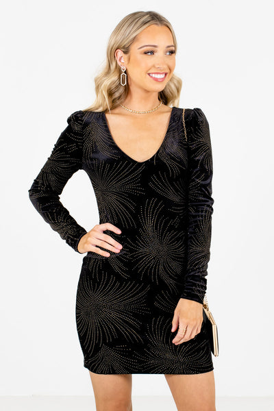 Black Golden Appliqued Boutique Mini Dresses for Women