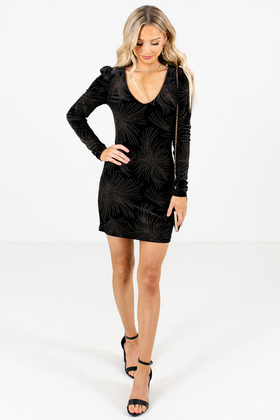 Black Hugging Silhouette Boutique Mini Dresses for Women