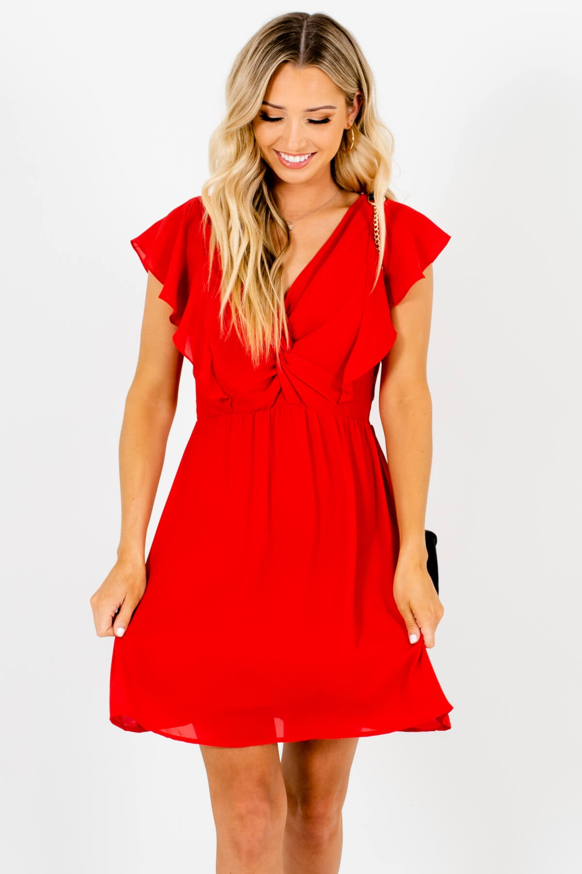 Red Infinity Knot Detail Butterfly Sleeve Mini Dresses Affordable Online Boutique