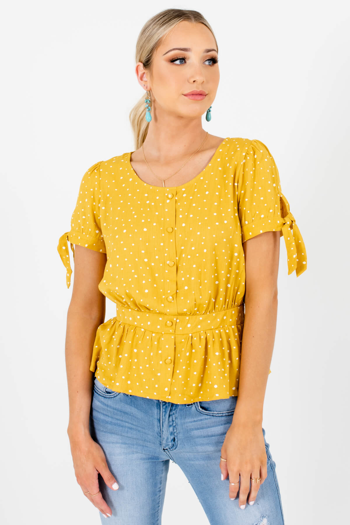 Mustard Yellow and White Polka Dot Patterned Boutique Tops for Women