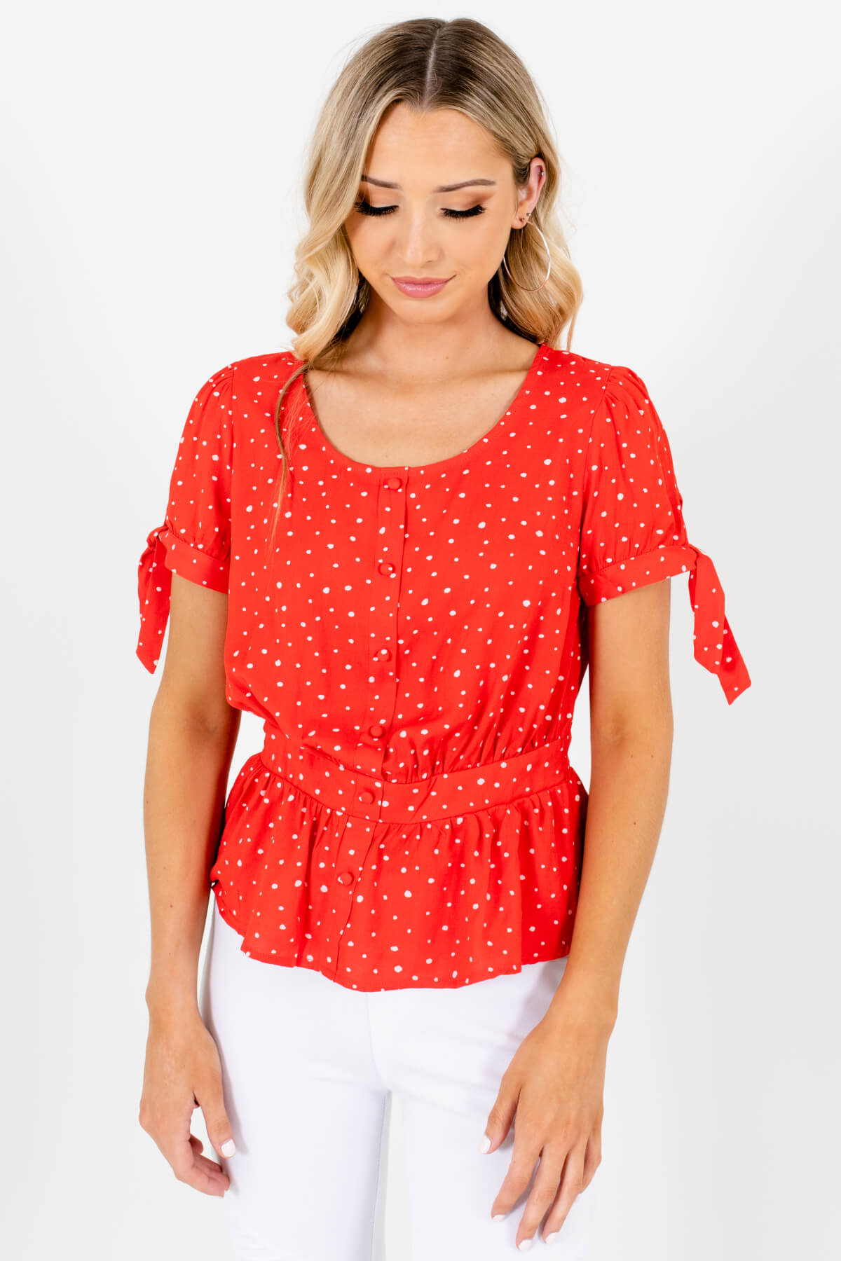 Red and White Polka Dot Patterned Boutique Tops for Women
