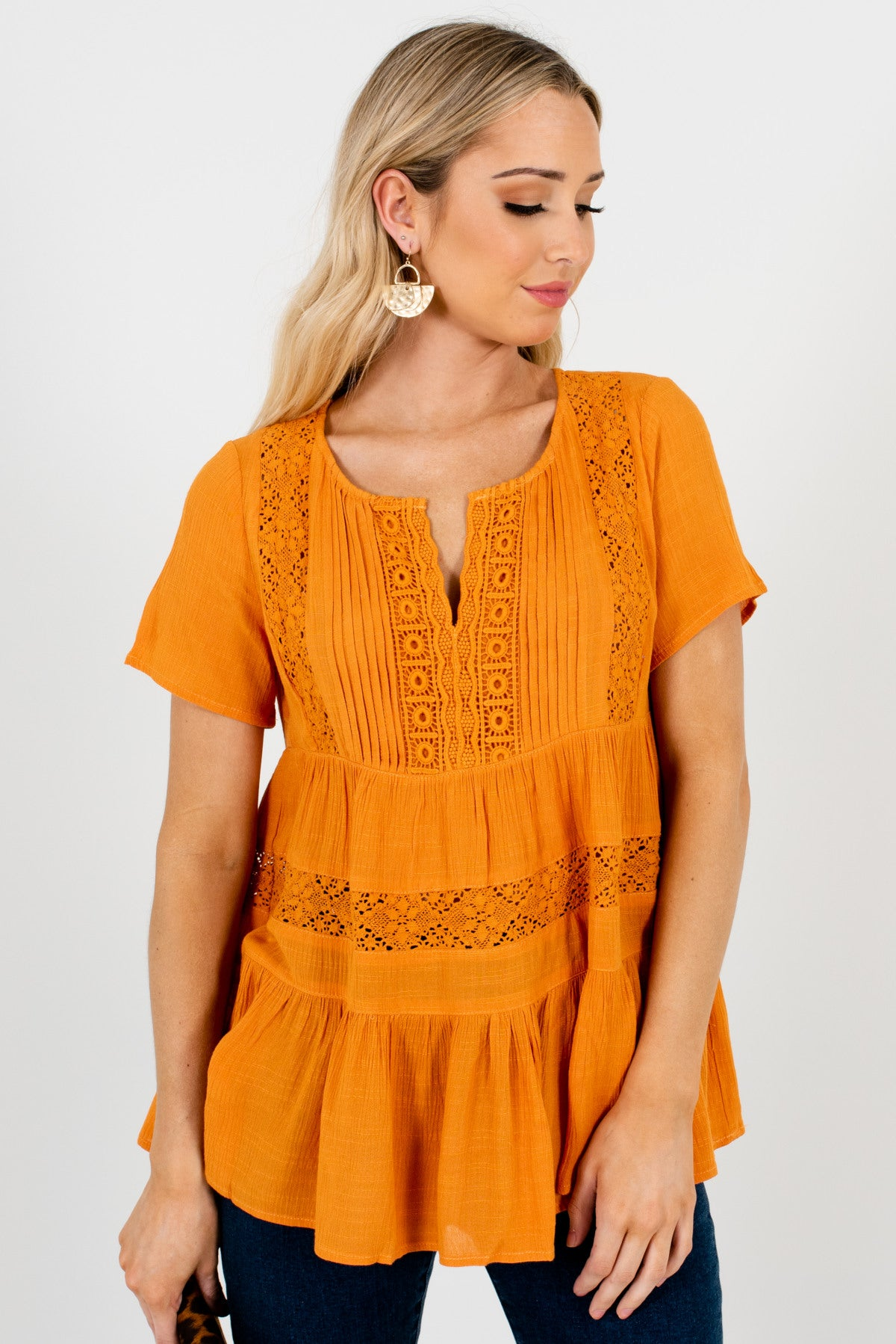 Orange Tiered Ruffled Style Boutique Tops for Women