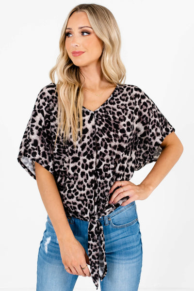 Gray, Black, and White Leopard Print Pattern Boutique Tops for Women