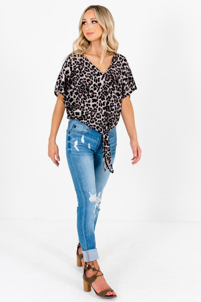 Gray Leopard Print Cute and Comfortable Boutique Tops for Women