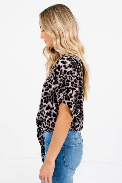 Gray Leopard Print Relaxed Fit Boutique Tops for Women