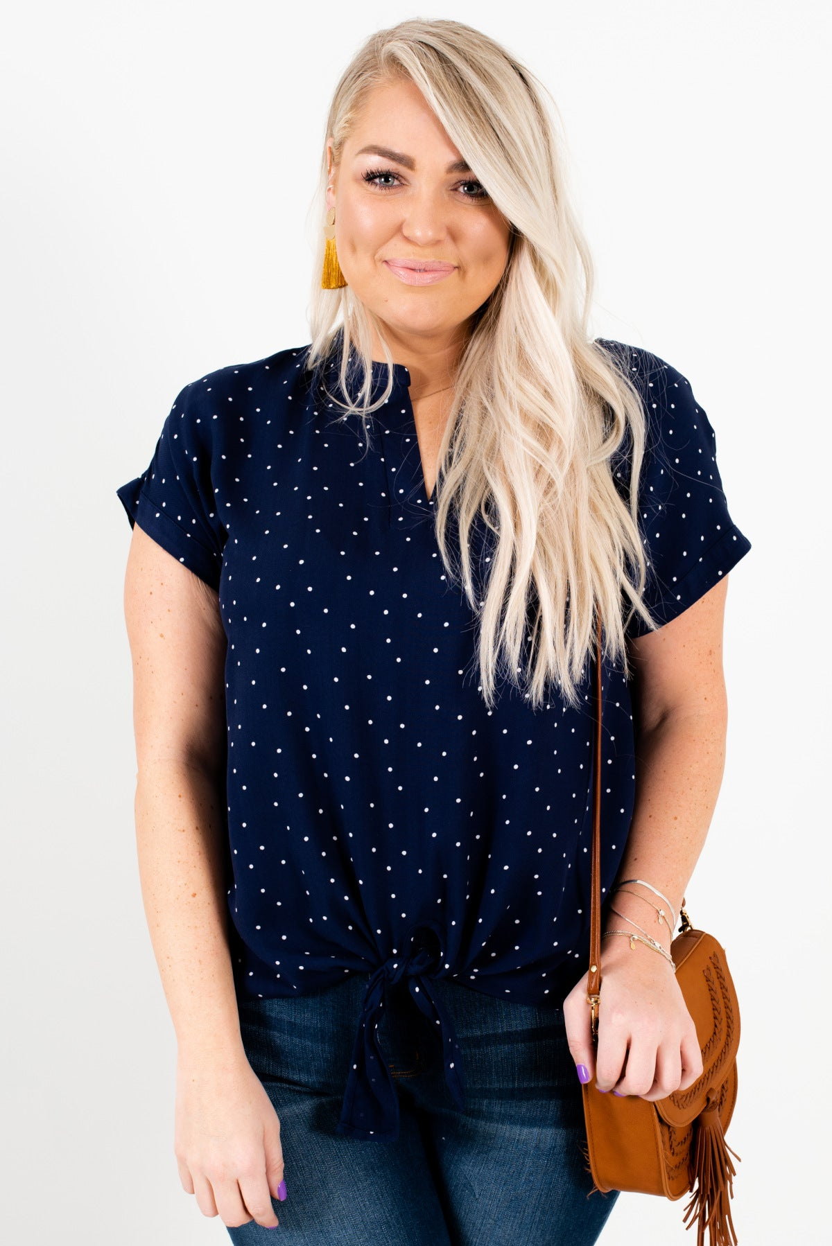 Navy Blue and White Polka Dot Patterned Plus Size Boutique Blouses for Women
