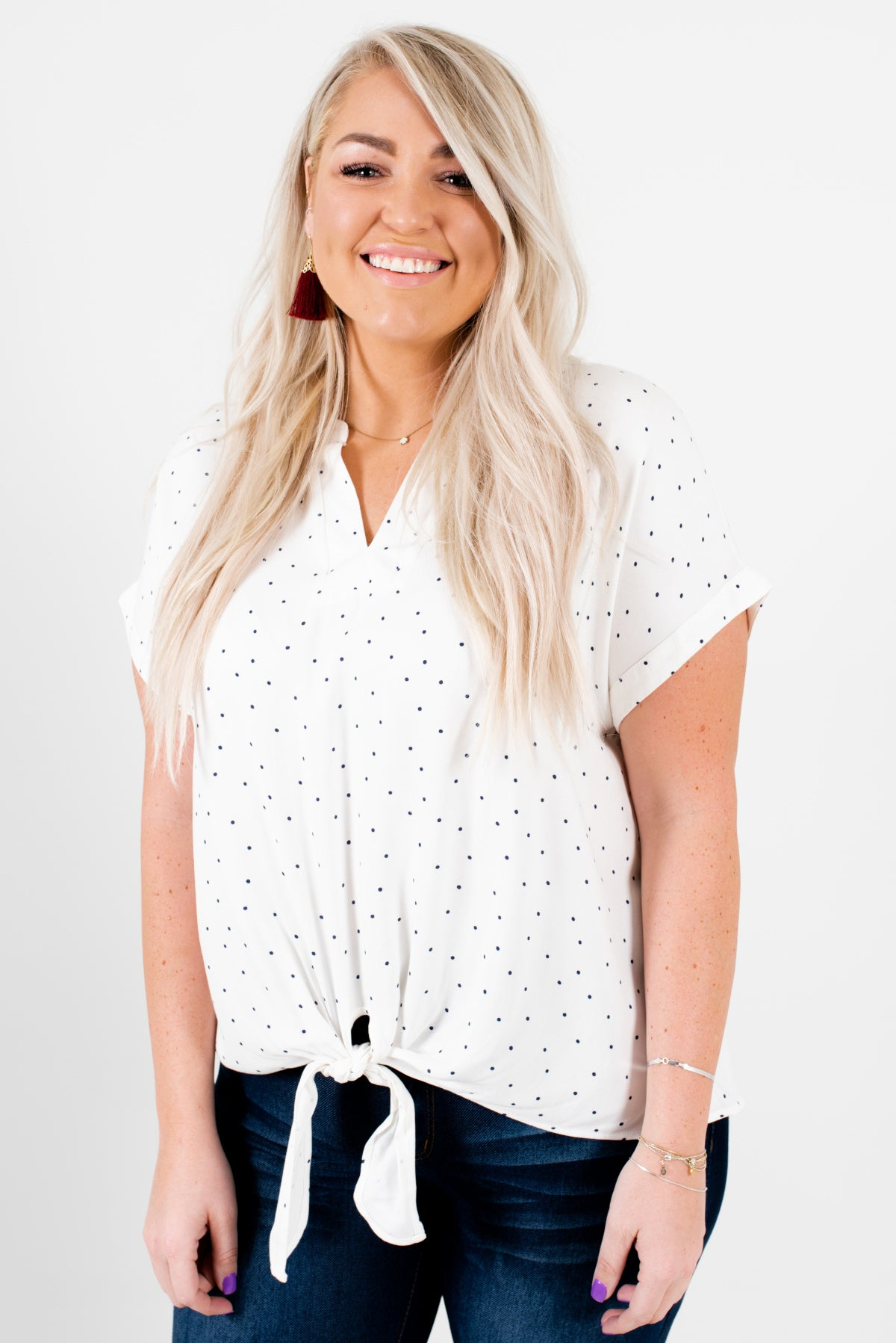 3fe60e72d8c White and Navy Blue Polka Dot Patterned Plus Size Boutique Blouses for Women
