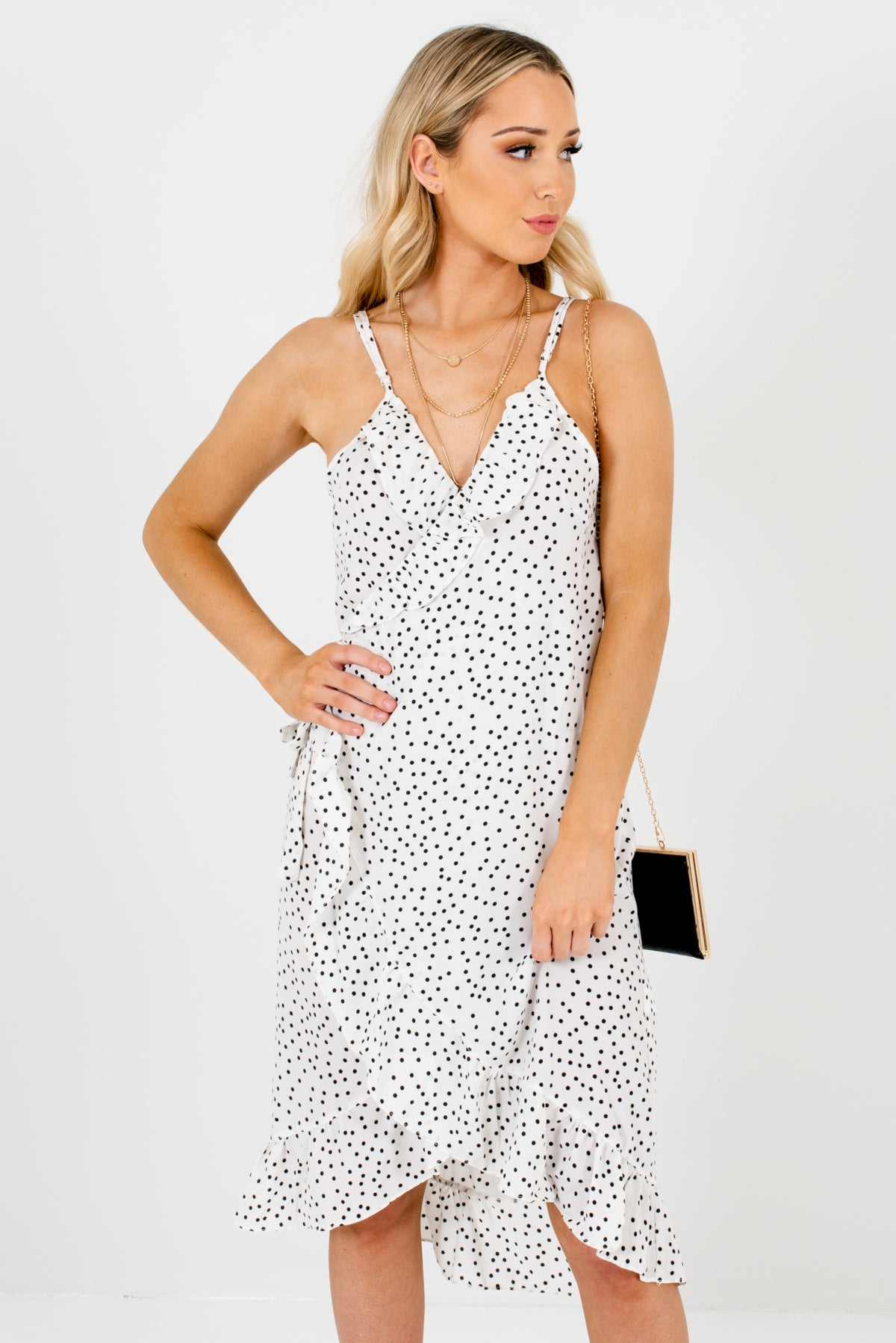 White and Black Polka Dot Patterned Boutique Knee-Length Dresses for Women