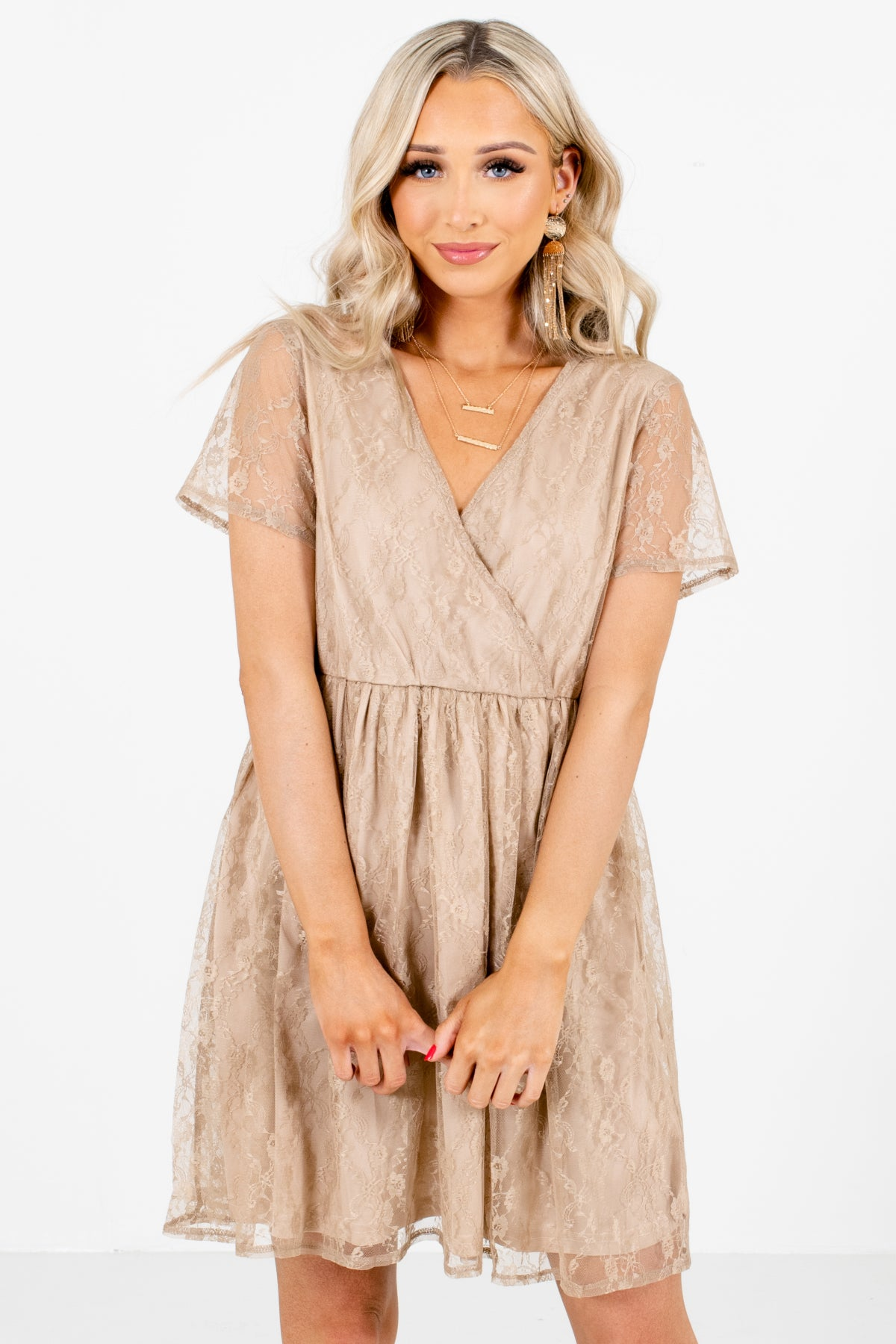 Taupe Brown V-Neckline Boutique Mini Dresses for Women