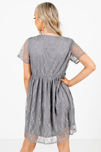 Gray Partially Lined Boutique Mini Dresses for Women