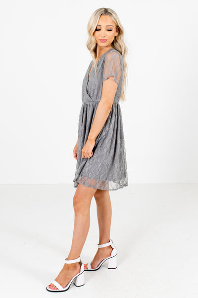 Women's Gray Flowy Silhouette Boutique Mini Dress