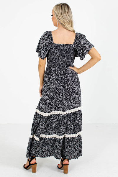 Women's Black Smocked Bodice Boutique Maxi Dress