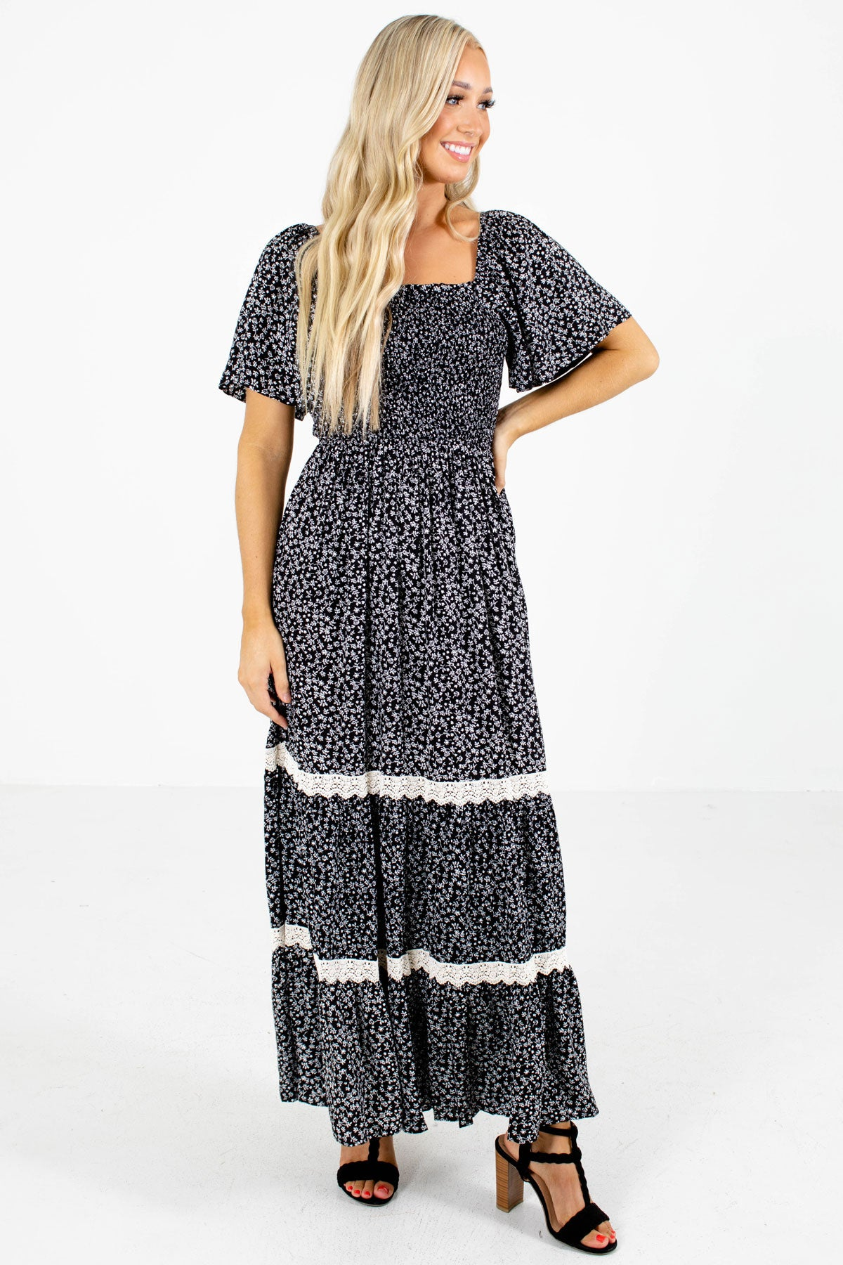 Black and White Floral Boutique Maxi Dresses for Women