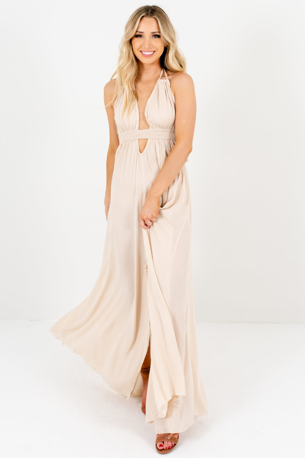 Beige Long Flowy Maxi Boutique Bohemian Dresses with Open Back and Tassels