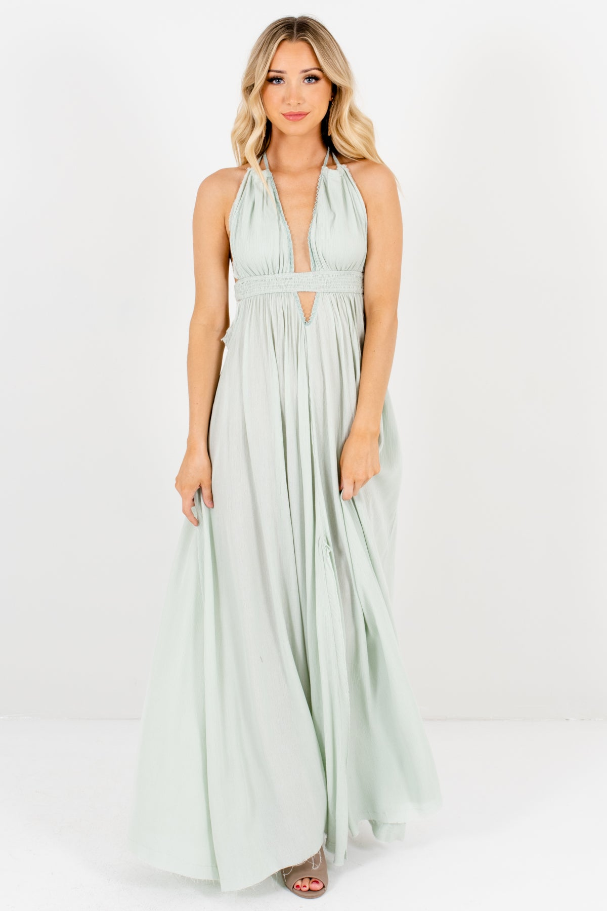 Mint Green Long Flowy Maxi Dresses with Open Back and Tassel Ties