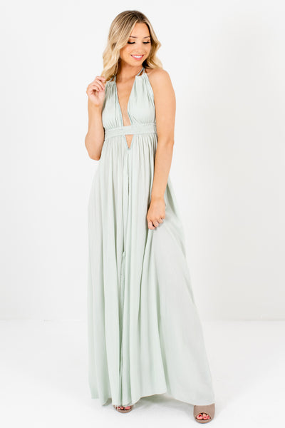 Mint Green Boho Boutique Long Flowy Maxi Dresses with Cutouts