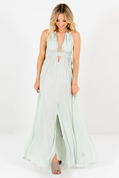 Mint Green Pastel Maxi Dresses with Open Back and Ombre Tassel Ties