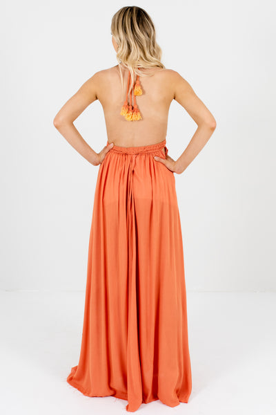 Dark Coral Orange Open Back Flowy Boho Boutique Maxi Dresses