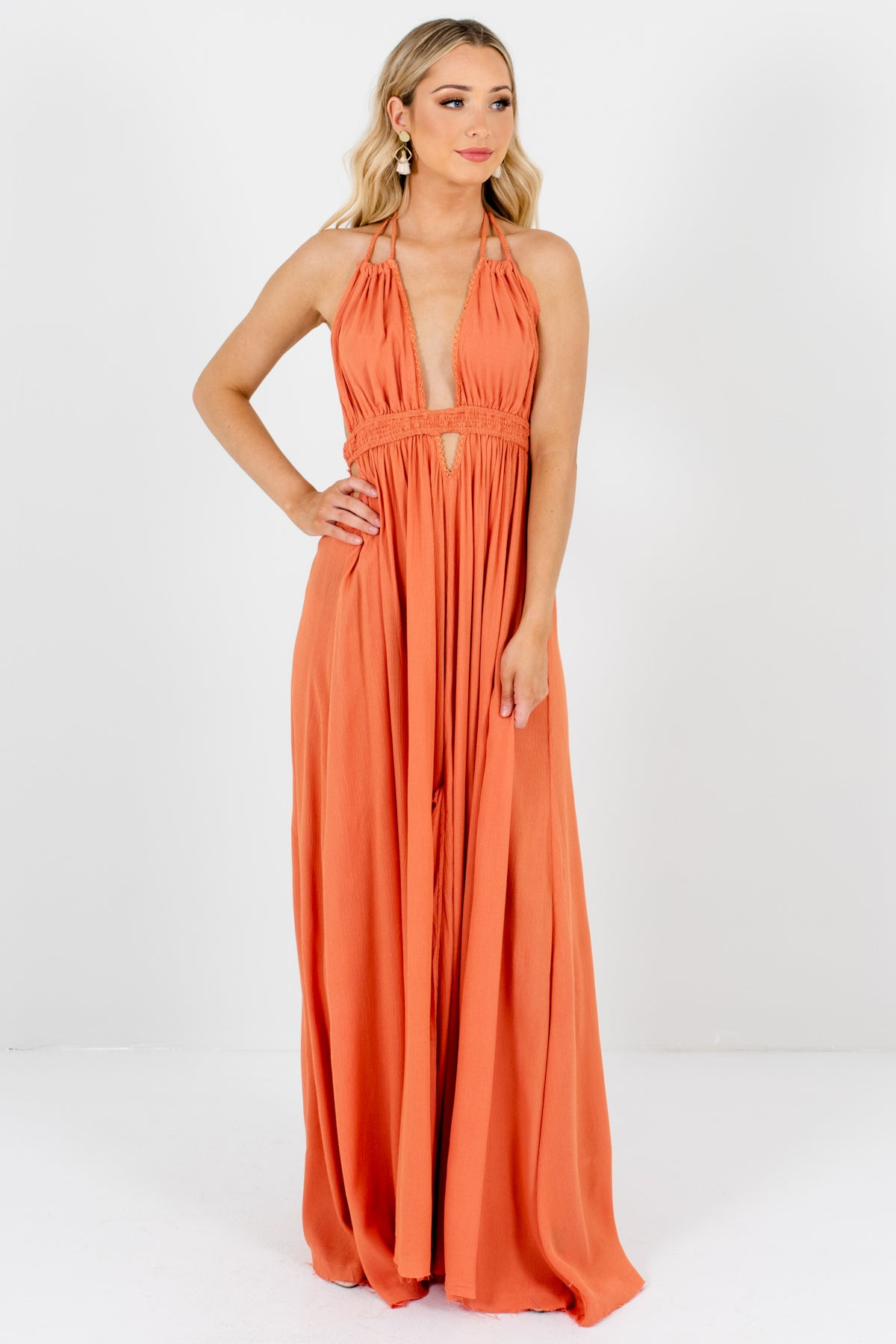 972758a1d30 Orange Flowy Long Boutique Maxi Dresses with Open Back and Tassel Ties