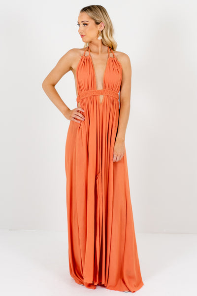 Dark Coral Orange Flowy Boho Cutout Tassel Maxi Dresses