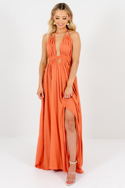 Dark Orange Flowy Long Boho Maxi Dresses Affordable Online Boutique