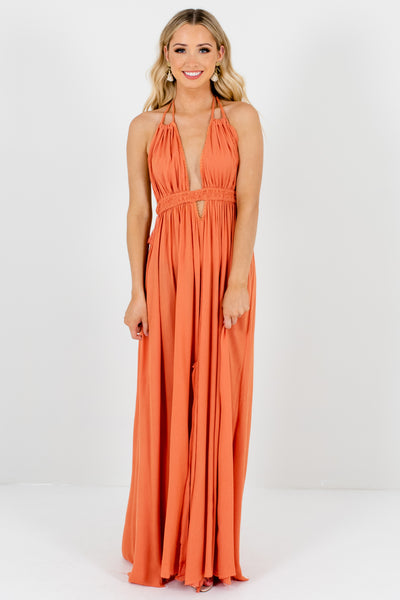 Orange Bohemian Boho Boutique Cutout Open Back Maxi Dresses