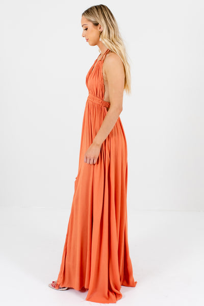 Dark Orange Flowy Long Boho Maxi Dresses Festival Fashion