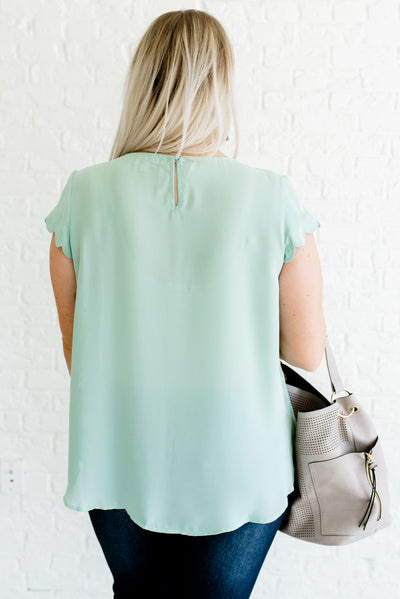 Mint Blue Neckline Cutout Detailed Plus Size Boutique Blouses for Women