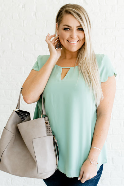 Mint Blue Women's Scalloped Sleeve Plus Size Boutique Blouse