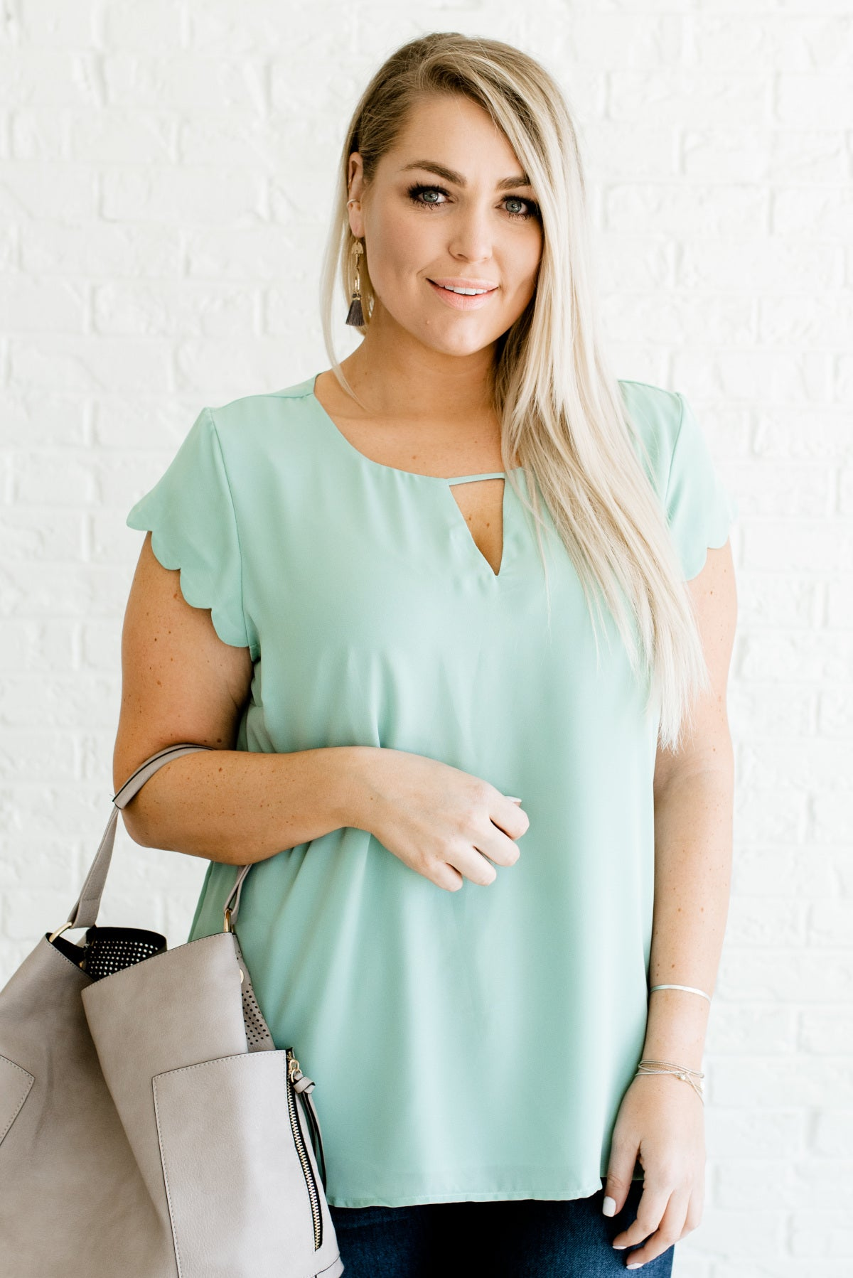 Mint Blue High-Quality Fully Lined Plus Size Boutique Blouses for Women