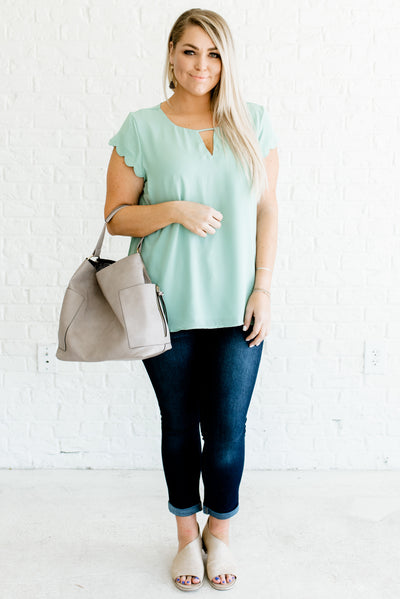 Mint Blue Affordable Online Plus Size Boutique Clothing for Women