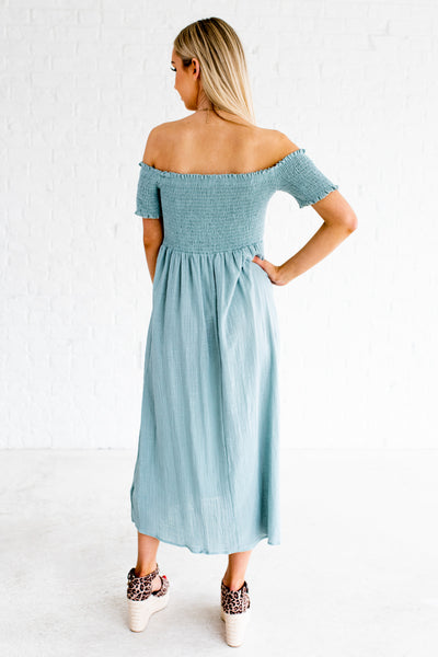 Light Turquoise Blue Smocked Midi Dresses Affordable Online Boutique