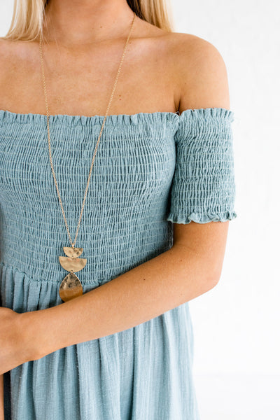 Turquoise Blue Cute Off Shoulder Smocked Cotton Midi Dresses