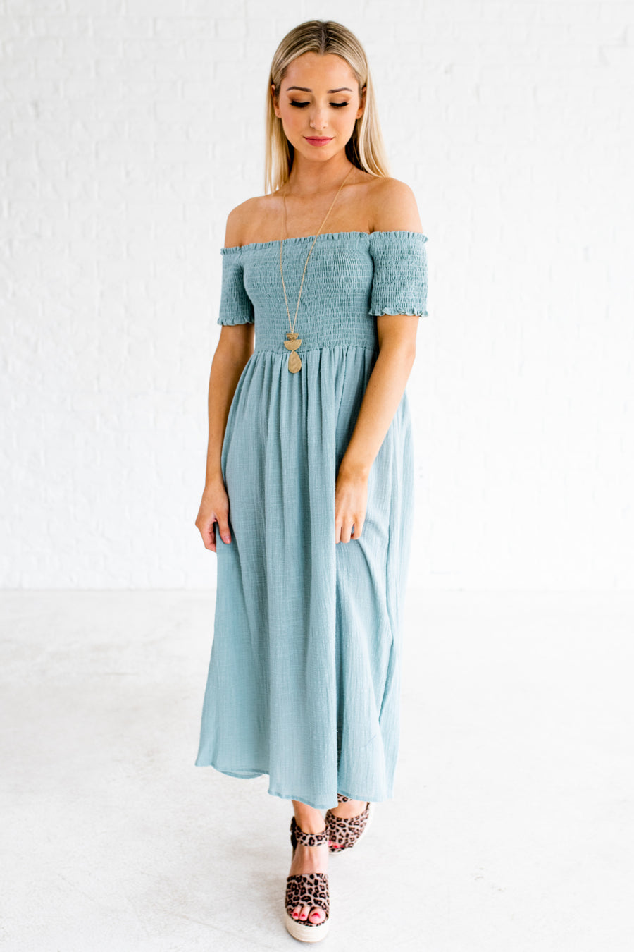 7d4e005fc9c3 Spring Haze Blue Off Shoulder Midi Dress