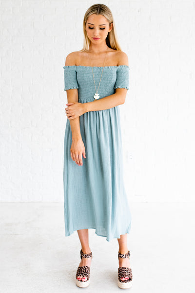 Turquoise Blue Smocked Off Shoulder Midi Dresses Boutique