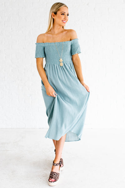 Turquoise Blue Off Shoulder Smocked Cotton Midi Dresses