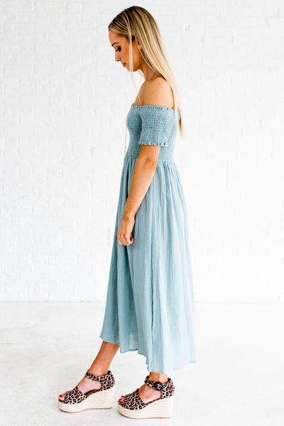 Light Turquoise Blue Boutique Off Shoulder Dresses for Women