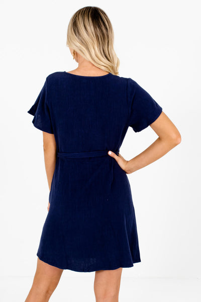 Women's Navy Blue Hook and Eye Closure Neckline Boutique Mini Dress