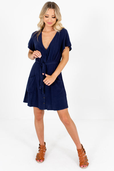 Women's Navy Blue Waist Tie Detail Boutique Mini Dresses