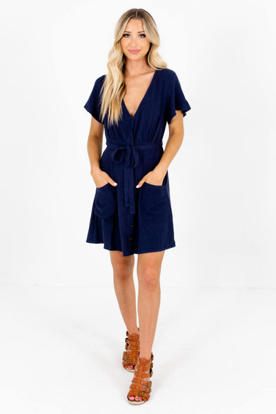 Navy Blue Cute and Comfortable Boutique Mini Dresses for Women