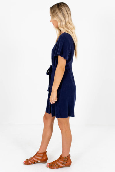 Navy Blue V-Neckline Boutique Mini Dresses for Women