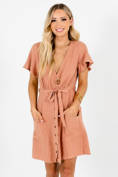 Women's Pink Boutique Mini Dresses with Pockets