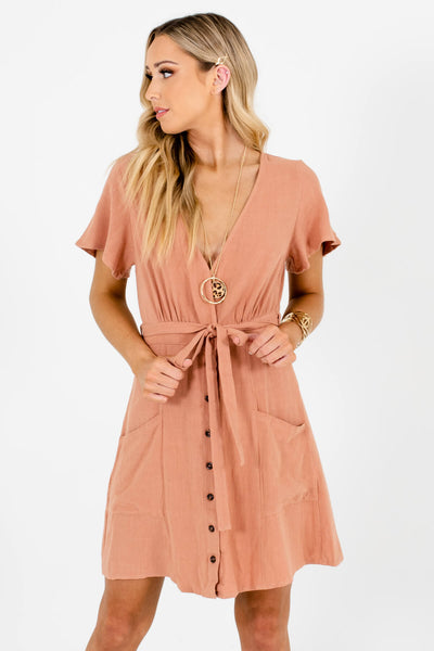 Muted Pink Button-Up Front Boutique Mini Dresses for Women