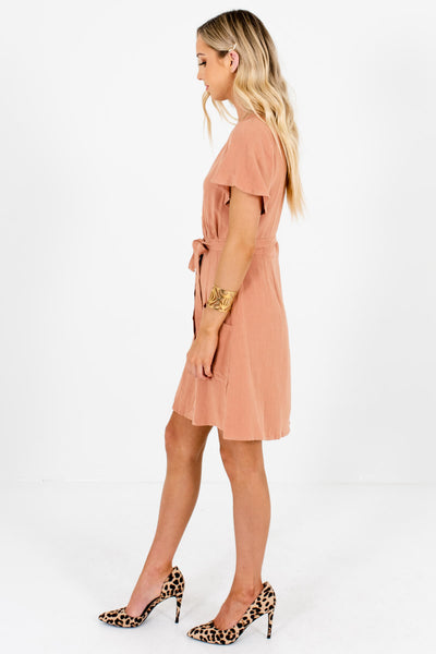 Pink Waist Tie Detail Boutique Mini Dresses for Women