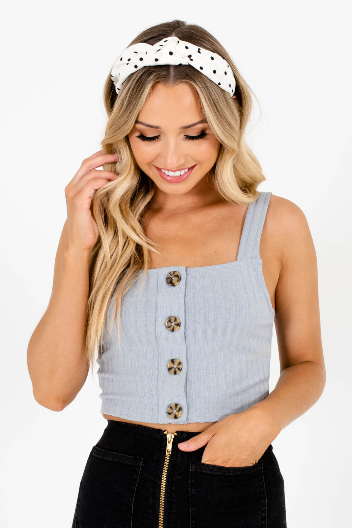 Gray Button-Up Front Boutique Tank Tops for Women
