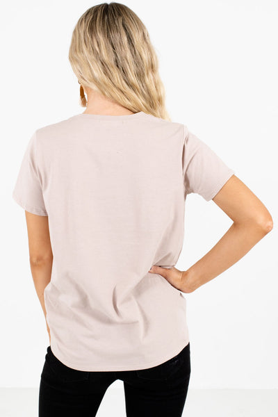 Women's Taupe Brown Retro Inspired Boutique Graphic T-Shirts