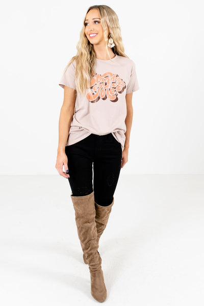 Taupe Brown Cute and Comfortable Boutique Graphic T-Shirts for Women
