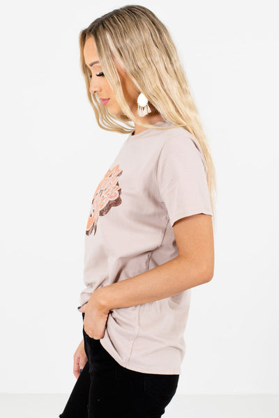 Taupe Brown High-Quality Material Boutique Tees for Women