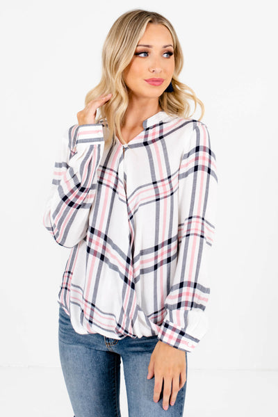 Women's White Plaid Casual Everyday Boutique Tops