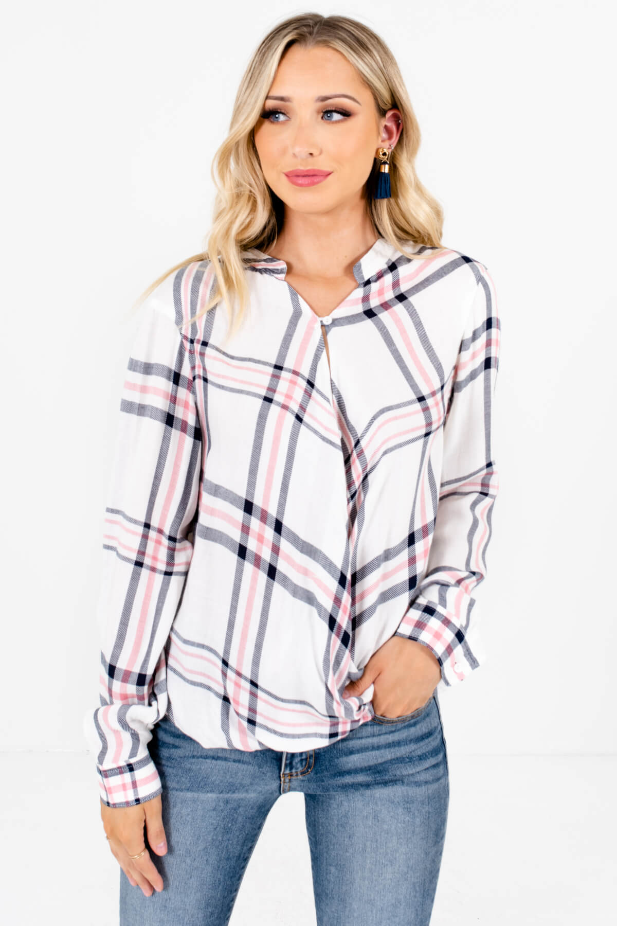 White Pink and Navy Plaid Patterned Boutique Tops for Women